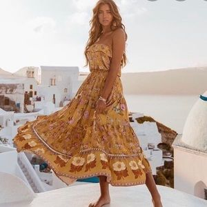 NWT Spell Wildbloom Strappy Dress In Mustard